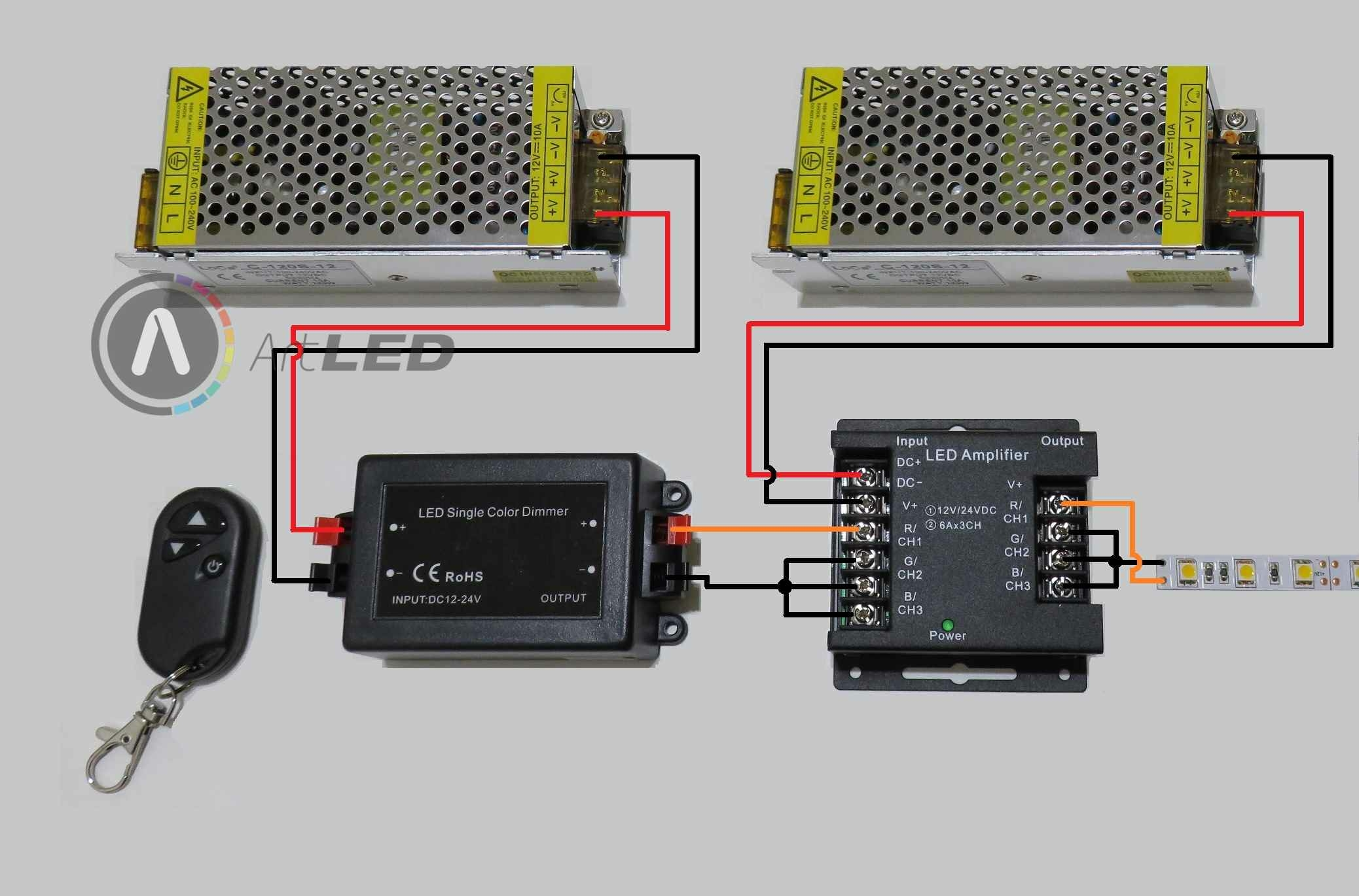 LED szalag dimmer és jelerősítő 2