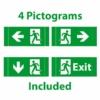 Kép 2/2 - LED vészkijárat jelző, 3 óra, piktogramokkal, fali (WW7206) 1