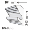 Kép 1/2 - ArtLED RV-09/C Rejtett világítás díszléc - mennyezet