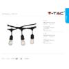 Kép 9/9 - V-TAC E27 foglalatos fényfüzér, fekete, IP54, 5 méter, 10 db izzóhoz
