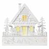Kép 1/7 - EMOS LED karácsonyi házikó, fa, 28 cm, 2x AAA, beltéri, meleg fehér, időzítő