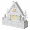Kép 2/7 - EMOS LED karácsonyi házikó, fa, 28 cm, 2x AAA, beltéri, meleg fehér, időzítő