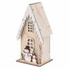Kép 2/6 - EMOS LED dekoráció, fa házikó hóemberekkel, 28.5 cm, 2x AA, beltéri, meleg fehér, időzítő