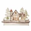 Kép 1/7 - EMOS LED dekoráció, fa behavazott templom, 15 cm, 2x AA, beltéri, meleg fehér, időzítő