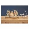 Kép 6/7 - EMOS LED dekoráció, fa behavazott templom, 15 cm, 2x AA, beltéri, meleg fehér, időzítő