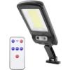 Kép 1/10 - Entac Napelemes Műanyag Fali lámpa 5W COB mozgásérzékelővel és IR távirányítóval