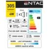 Kép 3/5 - Entac LED spot izzó GU10 4W NW 4000K