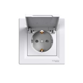 Schneider Electric Asfora - Aljzat 2P+F, csapfedeles, komplett, fehér