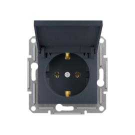 Schneider Electric Asfora - Aljzat 2P+F, csapfedeles, keret nélkül, antracit