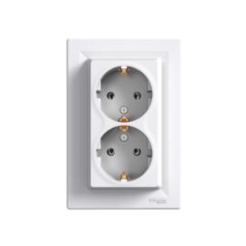 Schneider Electric Asfora - Aljzat 2P+F, dupla, komplett, fehér