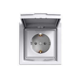 Schneider Electric Asfora - Aljzat 2P+F, kültéri, komplett, fehér