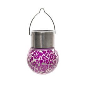 Nortene Lightis függő szolár LED lámpa - lila szín, mozaik üveg
