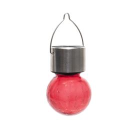 Nortene Lightis függő szolár LED lámpa - piros szín, törött üveg hatású