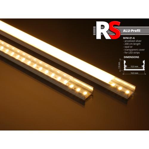 Alumínium U profil LED szalaghoz, átlátszó búrával (felületre), RS MINI-01-A (11283)