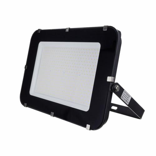 LED reflektor 300W, SMD fekete 150°, IP65,semleges fehér fény, 100cm kábellel (FL5797)