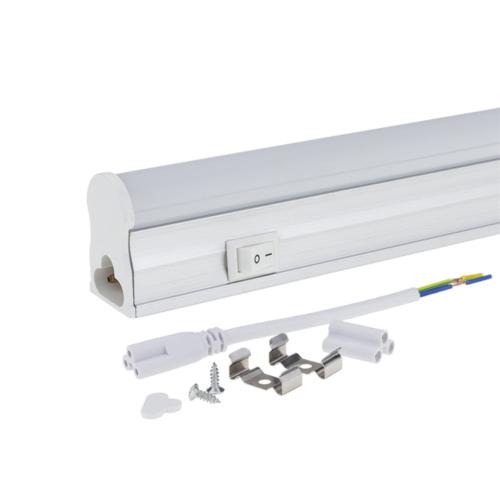 LED fénycső, T5, 31 cm, 4W, 230V, matt üveg, meleg fehér fény, kapcsolóval (TU5523)