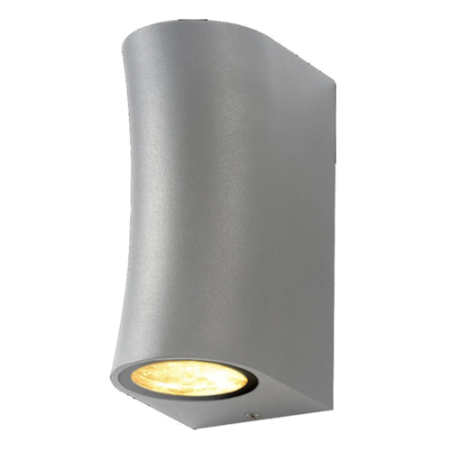 Ezüst fali lámpa, alumínium, 2 x GU10-es foglalattal, 230V, IP44 (WL7448)