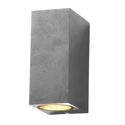 Ezüst fali lámpa, szögletes, alumínium, 2 x GU10-es foglalattal, 230V, IP54 (WL7442)