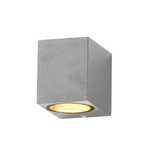 Ezüst fali lámpa, szögletes, alumínium, GU10-es foglalattal, 230V, IP54 (WL7436)