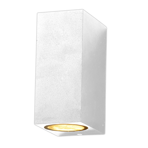 Fehér fali lámpa, szögletes, alumínium, 2 x GU10-es foglalattal, 230V, IP54 (WL7441)
