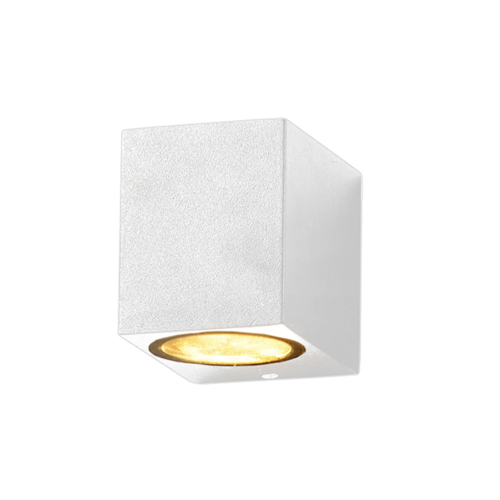 Fehér fali lámpa, szögletes, alumínium, GU10-es foglalattal, 230V, IP54 (WL7435)