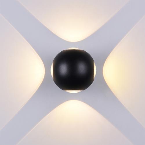 Fekete fali lámpa, 230V, 4W, 440LM, 3000K - IP54 (WL7488)