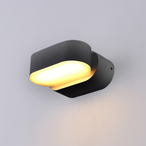 Fekete fali lámpa, 230V, 6W, 660LM, 3000K - IP54 (WL7476)