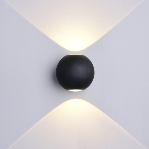Fekete fali lámpa, 230V, 6W, 660LM, 3000K - IP54 (WL7494)