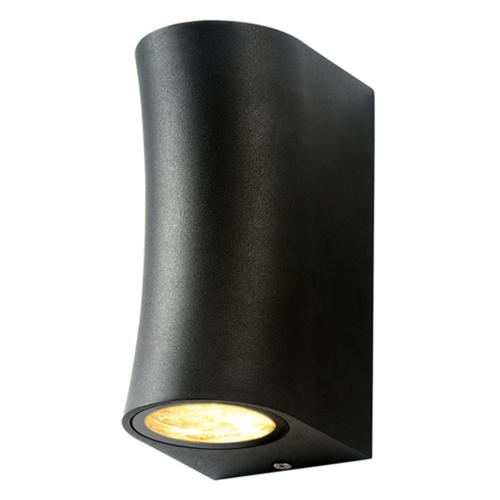 Fekete fali lámpa, alumínium, 2 x GU10-es foglalattal ,230V, IP44 (WL7446)