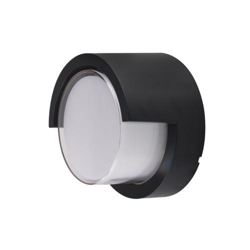 Fekete fali lámpa, kerek, 15W, 230V, 750LM, IP65, 3000K (WL7528)