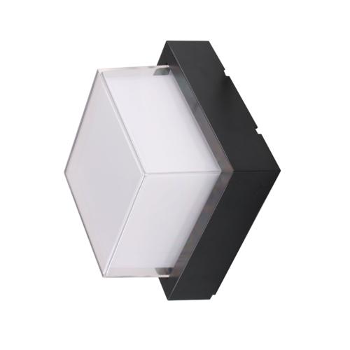 Fekete fali lámpa, négyszögletes, 15W, 230V, 1000LM, IP65, 3000K (WL7534)