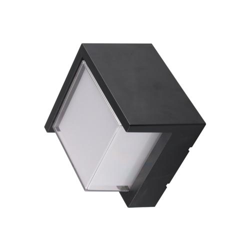 Fekete fali lámpa, négyszögletes, 15W, 230V, 760LM, IP65, 3000K (WL7530)