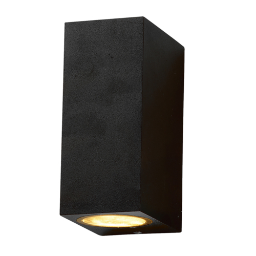 Fekete fali lámpa, szögletes, alumínium, 2 x GU10-es foglalattal, 230V, IP54 (WL7440)