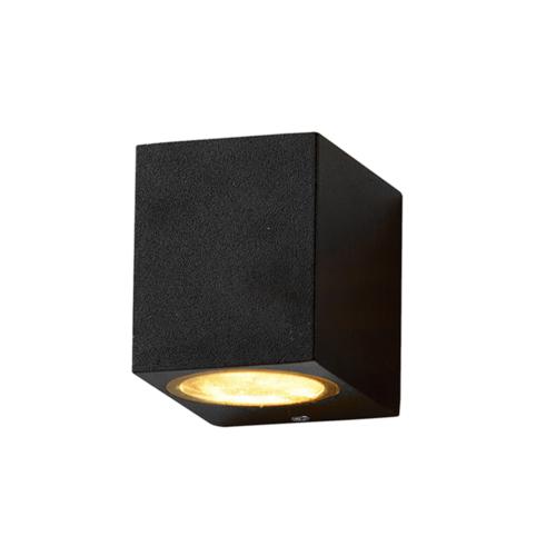 Fekete fali lámpa, szögletes, alumínium, GU10-es foglalattal, 230V, IP54 (WL7434)