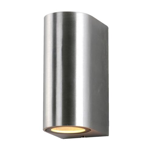 Szálcsiszolt fali lámpa, alumínium, 2 x GU10-es foglalattal, 230V, IP54 (WL7450)