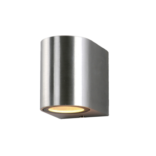 Szálcsiszolt fali lámpa, alumínium, GU10-es foglalattal, 230V, IP54 (WL7449)