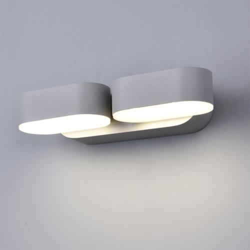 Szürke fali lámpa, 230V, 2x6W, 1320LM, 3000K - IP54 (WL7483)