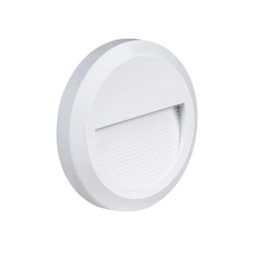 LED lépcső világítás, kerek, fehér, 2W, 3000K, 80LM, 230V, IP65 (WL7505)