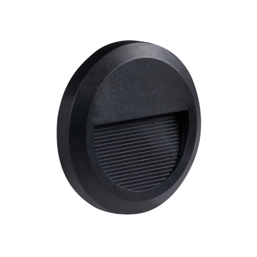 LED lépcső világítás, kerek, fekete, 2W, 3000K, 80LM, 230V, IP65 (WL7503)