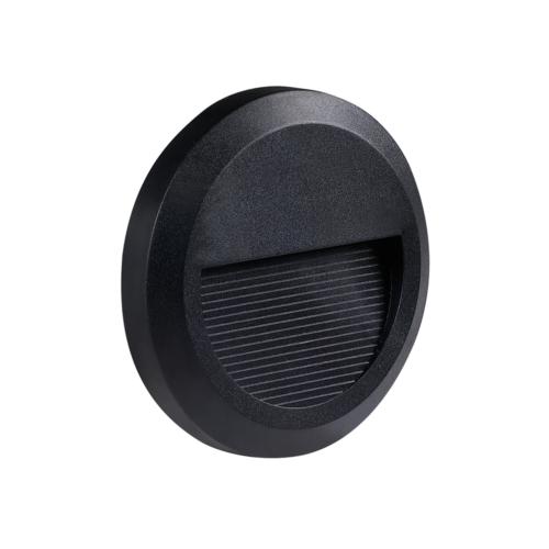 LED lépcső világítás, kerek, fekete, 2W, 4200K, 80LM, 230V, IP65 (WL7504)