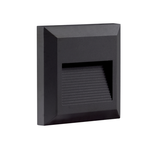 LED lépcső világítás, négyszögletes, fekete, 2W, 3000K, 80LM, 230V, IP65 (WL7509)