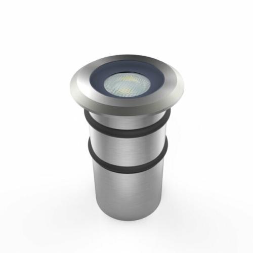 LED padlóba építhető spot, 1W, rm. acél ház, 20/60°, IP68, meleg fehér (DL0581)