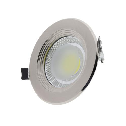 LED süllyeszthető spotlámpa, 15W, COB, inox keret, kerek, fehér fény (CB3169)