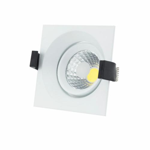 LED süllyeszthető spotlámpa, 8W, COB, négyszögletes, billenthető, meleg fehér fény (CB3212)