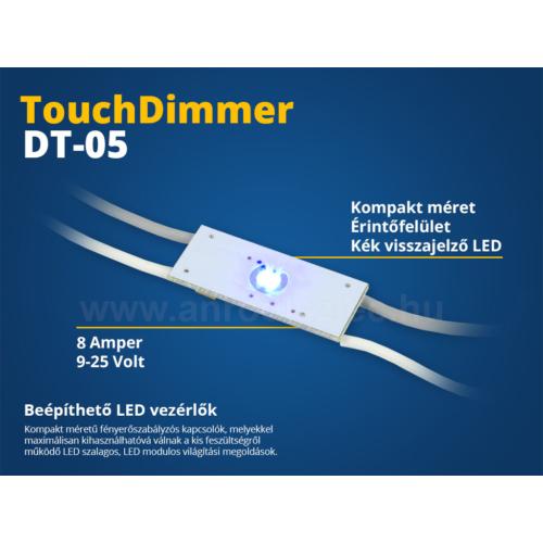 Beépíthető LED vezérlő (DT05) érintős kapcsoló, fényerőszab. (10628)