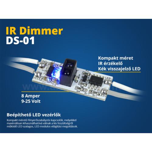 LED Beépíthető LED vezérlő (DS01) IR kapcsoló, fényerő szabályzó (10626)