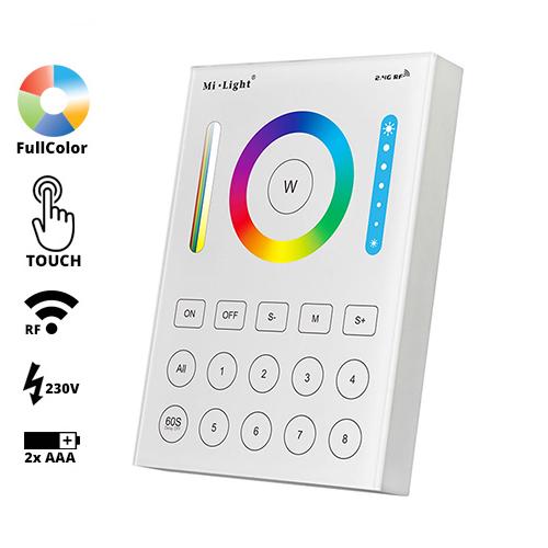 Group Control RGB+CCT Fali FullColor szabályzó panel, B8: elemes/tápegységes (23126)