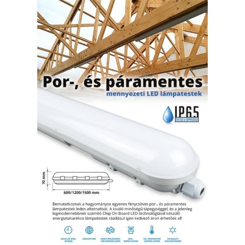 F-Series por és páramentes LED lámpatest IP65 (36W) 120 cm, 6000K (11850)