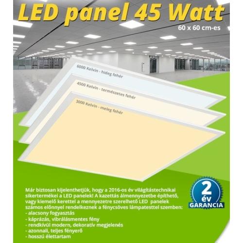 LED panel (600 x 600mm) 45W - meleg fehér (9605)