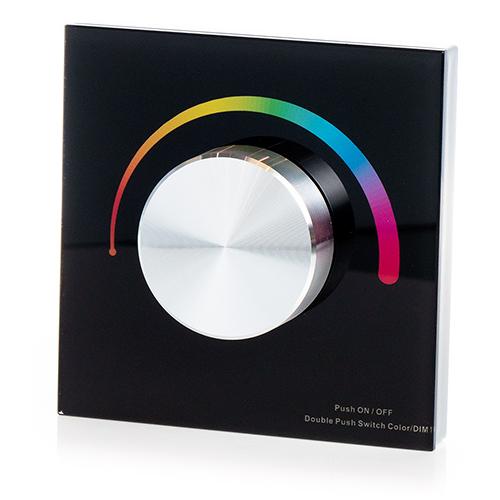LED SD T3-KB Fali LED RGB vezérlő, forgatógombos, fekete (22604)